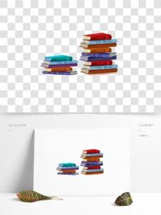 彩色书堆图案元素