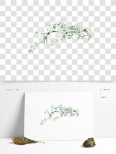 手绘绿色树枝卡通透明素材