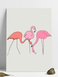 火烈鸟卡通设计元素
