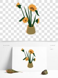 向日葵盆栽植物插画
