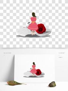 红玫瑰女孩图案元素