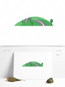 山坡矢量卡通绿色元素