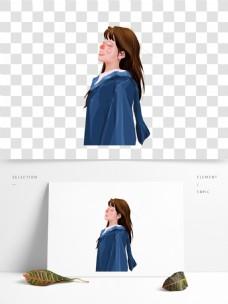 穿学士服的女孩图案元素