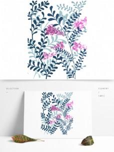手绘清新藤蔓紫色花朵