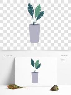 绿色花草盆栽卡通透明素材
