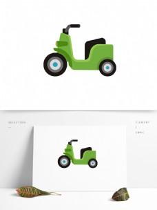 摩托车绿色矢量元素卡通