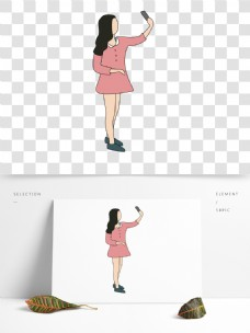 粉色衣服女孩插画