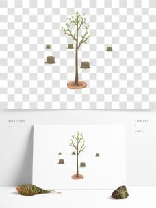植树节夏天树木树林卡通元素