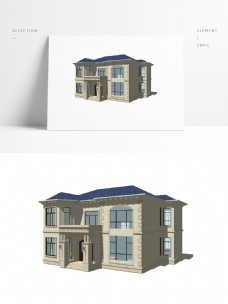 欧式乡村别墅模型