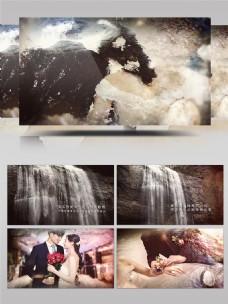 唯美瀑布水流婚礼相册AE模板
