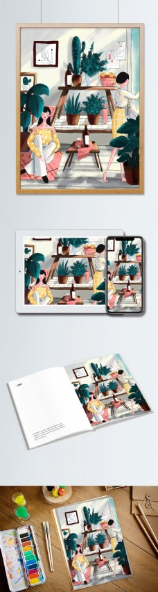 小清新世界环境日时尚女孩植物插画