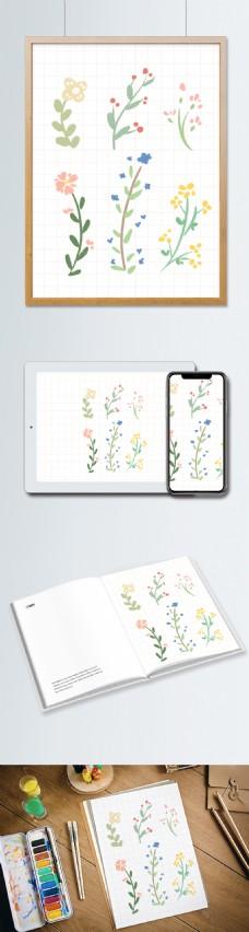 小清新北欧花卉植物插画