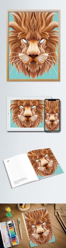 趋势立纸塑雕(插画)狮子