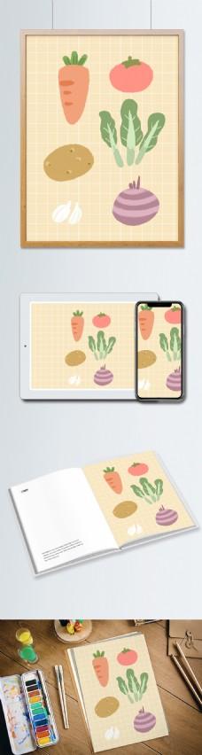 可爱卡通蔬菜水果插画