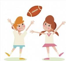 2个玩美式足球的孩子
