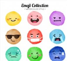 9款水彩绘圆脸表情
