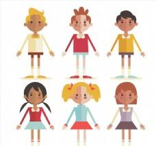 6款可爱扁平化儿童