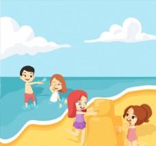 卡通海边沙滩玩耍的4个孩子
