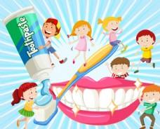卡通用牙刷刷牙的7个儿童