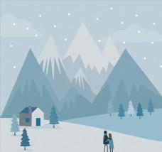 郊外看雪景的情侣背影