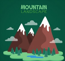 三座卡通雪山风景