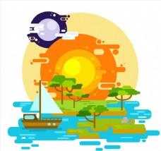 扁平化太阳与湖泊风景