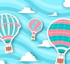 彩色条纹热气球剪贴画