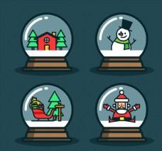 4款可爱圣诞雪花玻璃球