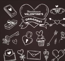 15款粉笔手绘情人节物品