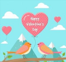 创意情人节情侣鸟和气球