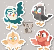 4款卡通冬季小鸟贴纸
