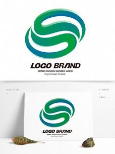创意大气绿色字母S公司标志LOGO设计