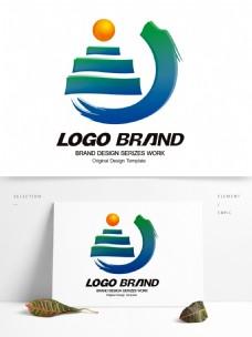 中国风矢量蓝绿飞龙旅游公司标志LOGO
