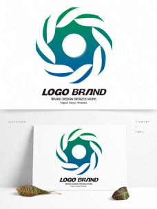 简约现代蓝绿线条字母S公司标志LOGO