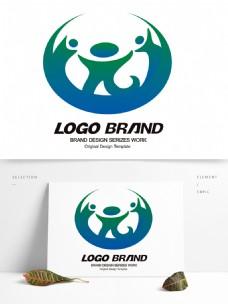创意矢量蓝绿人形旅游LOGO设计公司标志