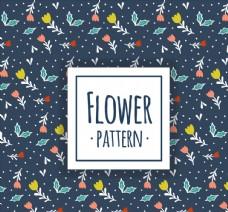 深蓝底彩色花卉无缝背景