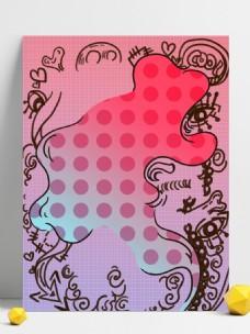 炫彩粉色母亲节人物画板背景