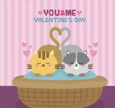 卡通情人节趴着的情侣猫咪