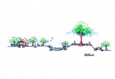 公园景观剖立面手绘