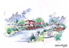 滨水区手绘景观效果图