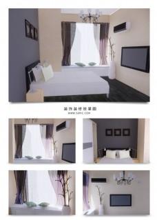 现代简约欧式家装卧室效果图