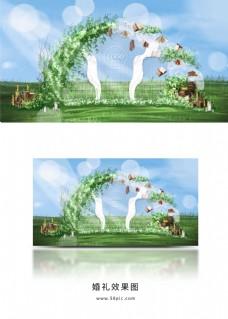 户外草坪小清新白绿色婚礼合影区