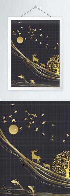 创意时尚轻奢现代金色线条装饰画