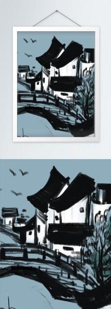 中式江南水乡水墨手绘竖版装饰画