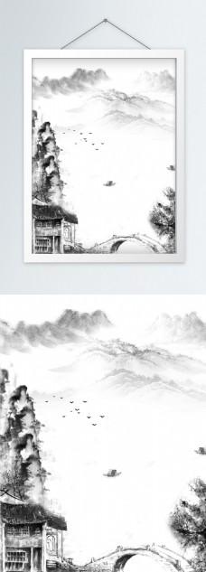 山水水墨画竖版装饰画