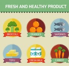 6款新鲜健康食品标签矢量图