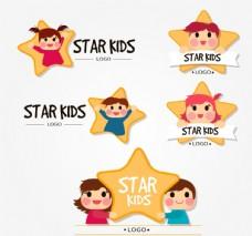5款可爱儿童明星标志矢量素材