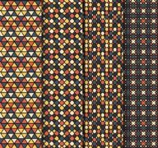 4款抽象格纹无缝背景矢量图