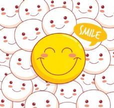 彩绘黄色笑脸矢量素材