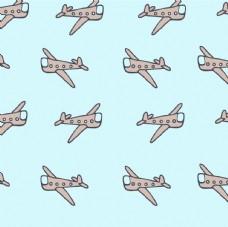 卡通飞机平铺图